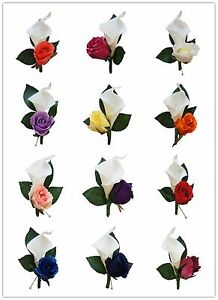 *Pick Rose Color* Real Touch Calla lily Silk Rose boutonniere-pin included