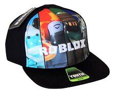 ROBLOX Boys/Youth Black Flat Bill Logo Baseball Cap Snapback Gamer Hat Ages 4-12