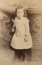 1890's Adorable Young School Girl Boots CABINET CARD PHOTO Paterson New Jersey