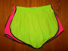 NIKE DRI-FIT GREEN ATHLETIC RUNNING SHORTS WITH LINER WOMENS LARGE EXCELLENT