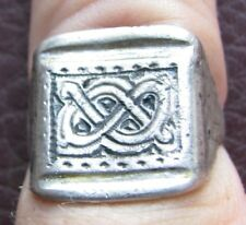 Authentic Ancient Artifact > Viking Silver Gilt Knotwork Ring VK 87