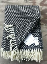 Klippan Sweden 100% Wool Blanket Black and White Herringbone - New