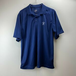 Beverly Hills Polo Club Me's Navy Blue Logo Comfy Short Sleeve Polo Shirt Size M