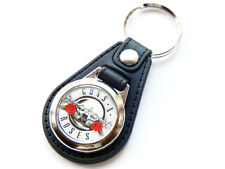 More details for guns n roses silver design classic rock band quality leather and chrome keyring