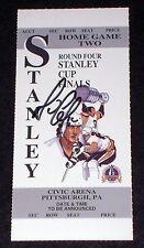 MARIO LEMIEUX Autographed 1992 NHL STANLEY CUP Ticket Penguins Hologram COA Auto
