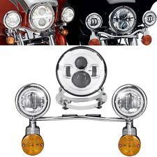 7'' Chrome LED Headlight Turn Signals Passing Light Bar Bulb For Harley Touring