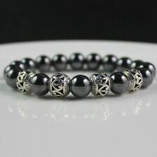 Bracelet de santé en pierre naturelle hématite, perles de 1 cm de diam., neuf