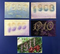 5 New Years Antique Postcards. YEAR DATES. 1907-11. For Collectors. W Value
