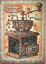 Elizaveta Melkozerova Steampunk coffee mill Russian modern Rare new postcard