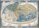 "World Map 1482 CANVAS PRINT 24""X18"" Antique Vintage Poster"