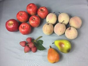 Artificial Fake Fruit Decor Props-LOT OF 15- Apples Pears Strawberries Peaches