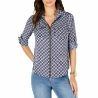 MICHAEL KORS Women's Navy/white Petite Plaid Zip-front Blouse Shirt Top P TEDO