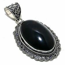 "Black Onyx Gemstone 925 Silver Jewelry Pendant 2.5"" AL-14910"