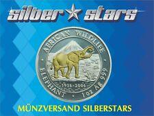 1 OZ Silber African Wildlife Silver Elefant Somalia 2006 gilded