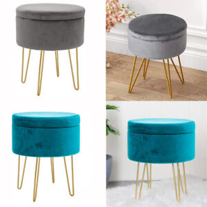 Round Velvet Storage Stool Footstool Footrest Dressing Table Seat Chair Ottoman