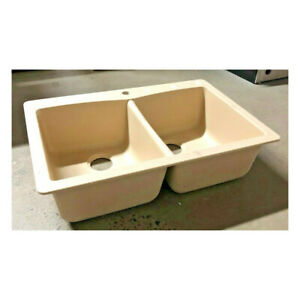 """Tuscany® Dual Mount 33"""" Biscotti Composite 1-Hole Double Bowl Kitchen Sink"""