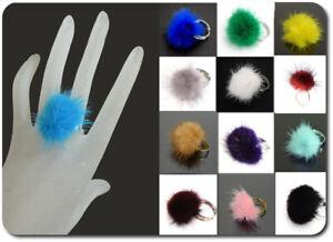 Fellring Anello Pelliccia Pon Pelliccia Anello da Donna Rotondo 22 Colori