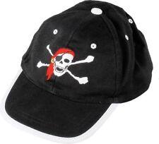 Black Kids Pirate Skull & Cross Bones Baseball Cap With Adjustable Velco Strap