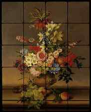 Flowers Backsplash Mural Tumbled Marble Tiles Kitchen Ideas Von Stoll