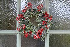Christmas Door Wreath Faux Red Berry & Snowy Box Leaf 25cm