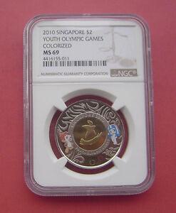 Singapore 2010 Youth Olympic Games 2 Dollars Bi-metallic Coin NGC MS69