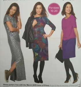 2015 Prima Easy to Make Simple Shift Dress Sewing Pattern Multi-Size 10-20 UNCUT
