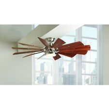 Rustic Ceiling Fan 60 Inch LED Light Remote Control Farmhouse Windmill Nickel