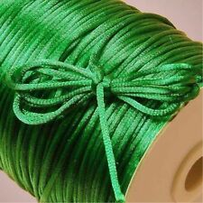 10yd green 2mm Satin Rattail Trim Macrame Beading Nylon DIY String Cord/7.38912
