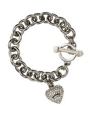 Authentic Juicy Couture Silver Pave Heart  & Toggle Icon Charm Starter Bracelet