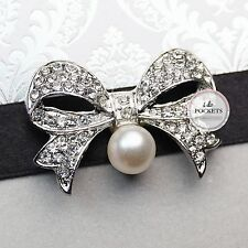 "1 X WEDDING INVITATION RHINESTONE VINTAGE BUCKLE CLUSTER BROOCH ""PEARL BOW"""