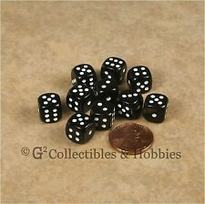 NEW 10 Black 10mm Rounded Edge RPG D&D Game D6 Dice Set 6 Sided Koplow