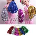 1 Pair Metallic Cheerleader Cheer Dance Party Dress Sport Pom Poms Cheerleading