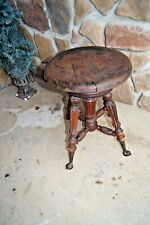 Antique Oak Piano Stool Claw And Glass Feet