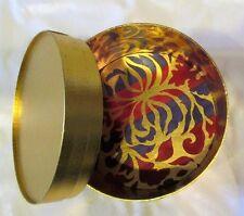 "Hat Box Storage 5 1/4"" Tall 7 1/2"" Diameter Purple Red Gold Accessories"