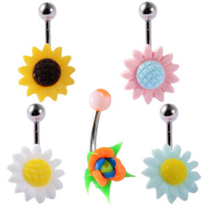 5Pcs Mix Sunflower Surgical Steel Belly Button Navel Ring Piercing Body Jewelry