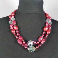 VINTAGE 60s Dark Pink Beaded Necklace Multi-Strand Faceted Glass Retro Kitsch