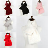 Fashion Women Winter Fur Wool Scarf Long Shawl Stole Wrap Scarves Warm Soft