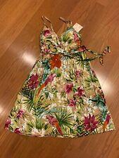 Derek Heart Floral Palm Tropical Print Dress Tan Green Sz. Lg