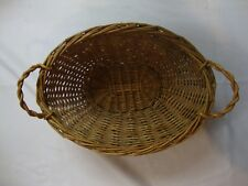 Vintage Wooden Straw Woven Basket Handles Large Sized Storage Container Oval