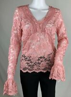 Moda International Pink Stretch Lace Top Long Bell Sleeve V Neck Sheer Size L