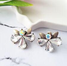 drop flower bridal statement stud earrings Vintage gold & white crystal tear