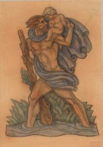 "Ferdinand Opitz (1885-1956) ""Saint Christopher / Project for Art Deco sculpture"""