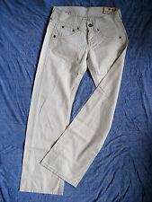 Replay Damen Jeans White Denim Gabardine W26/L32 x-low waist loose fit wide leg