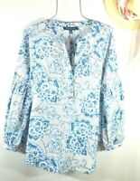 Tommy Hilfiger Women's Summer Blue Floral Boho Chic Peasant Top Blouse XL NWT