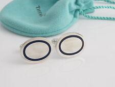 Tiffany Silver RARE Blue Enamel Oval Cuff Links Cuff Link Cufflink Cufflinks