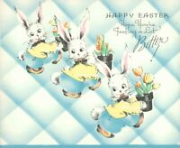 Happy Easter Hope You're Feeling Better Bunnys Vintage Greeting Card Gibson 1940