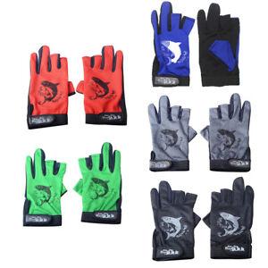 Fishing Hunting Gloves 3 Fingerless Anti-slip Waterproof Outdoor Sun Protection^
