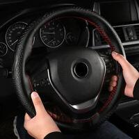 38cm Black DIY Genuine Leather Car Steering Wheel Cover Embossing Needle&Thread