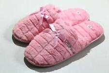 Señoras para mujer Rosa peludos suave caliente Mula Pantuflas Zapatillas de Casa Cálido