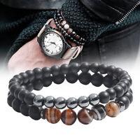 2X/set mantra prière guérison bracelet de perles en pierre naturelle pour hommÁÍ